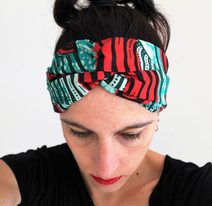 Headband turquoise, accessoire cheveux rouge, accessoire cheveux femme, headband turban ethnique, bandeau pagne africain, cadeau femme décon de la boutique Underthecocotiers sur Etsy