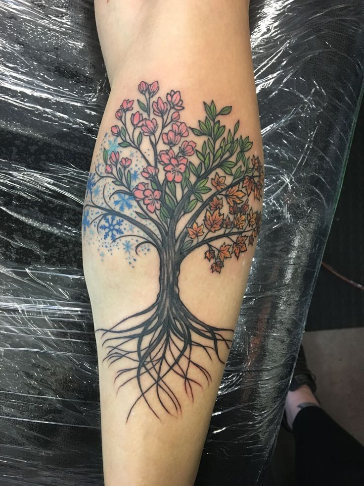 Tree Of Life With The Four Seasons Life Tattoos Tree Of Life Tattoo Calf Tattoos For Women
