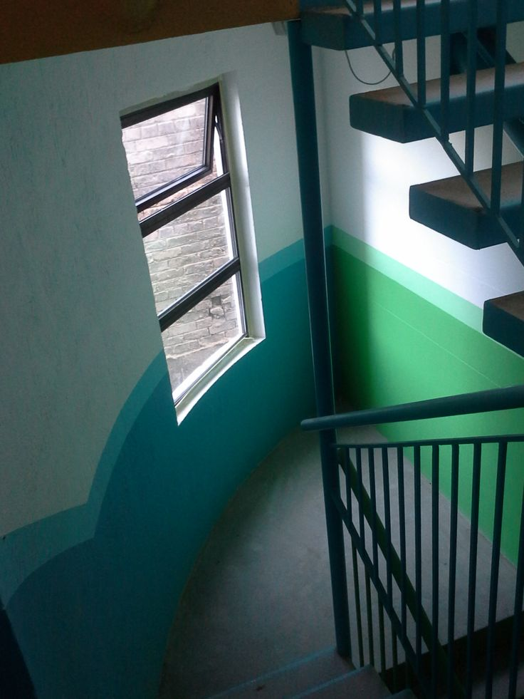 Colours on staircases going down silos