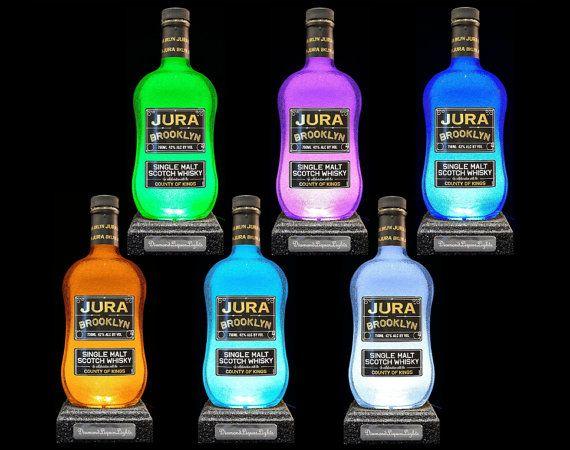 Jura Whisky Bottle Lamp With Textured Base. by DiamondLiquorLights
