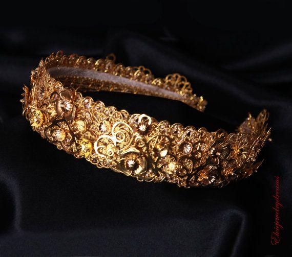 CATALINA goud filigraan kroon, bruiloft Tiara, bruids gouden zendspoel, elegantie kroon