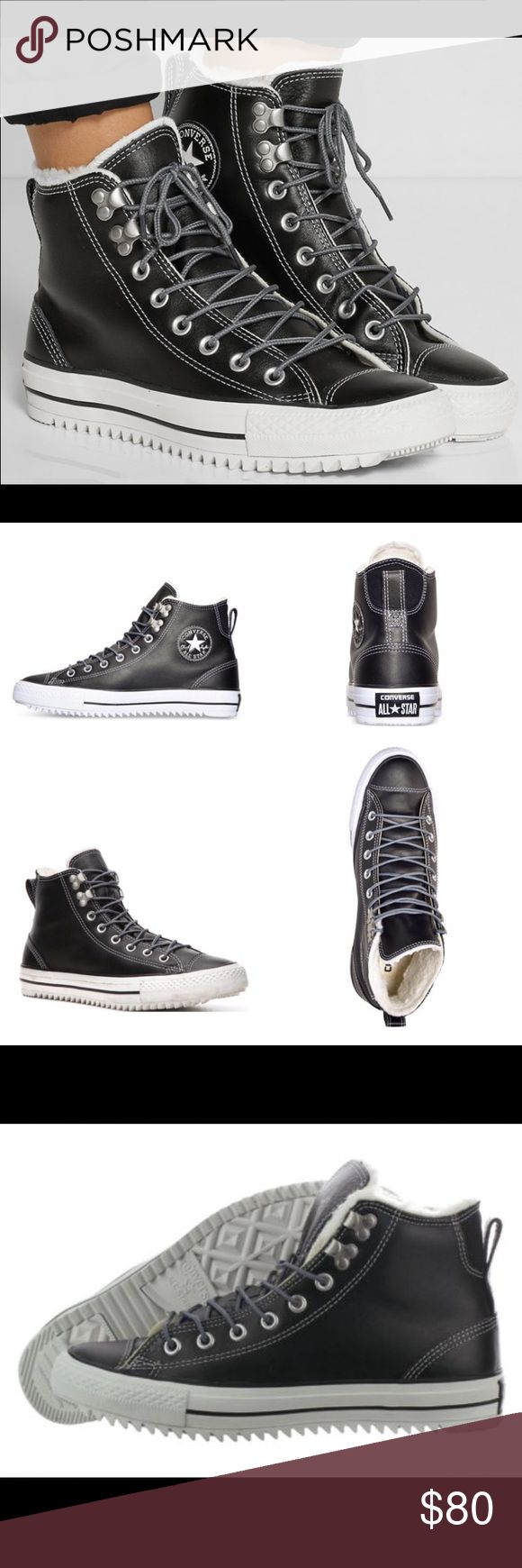 NWT Converse Fur/Leather High Top-NO TRADING NO TRADING. I WILL IGNORE ALL LOWBALL OFFERS. Size 5 Mens/ 7 Women's. Third Picture shows sizing in shoe.  These black Chuck Taylor All Star Hiker's combine the best of both worlds, sneakers and boots. With a high top upper and fleece lining the classic lace-up sneaker boot has been transformed into a stylin' street shoe with traction and warmth! Black leather upper Chuck Taylor All Star logo patch Fleece lining Vulcanized lugged rubber sole…