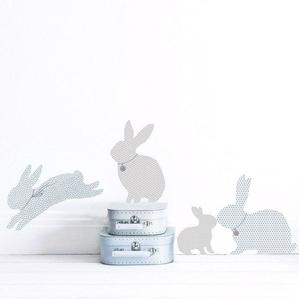 These cut rabbit wall stickers come in contemporary shades of duck egg blue and grey. Made from fabric adhesive you can move them around until you're happy with their position. View at www.kokokids.com #rabbitwallstickers #boysnurserydecals #childrenswalldecals