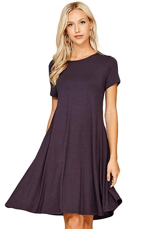 10f1d902e59810 Annabelle Women's Comfy Short Sleeve Scoop Neck Pocket Swing Short Dresses  Large Slate D5213