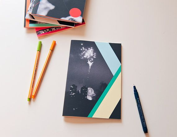 Notebook, A5 sized, geometric shapes and fireworks photo cover