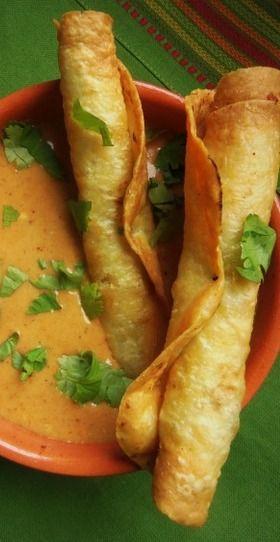 Potato and Cheese Flautas with a Cheese-Enchilada Sauce - Hispanic Kitchen