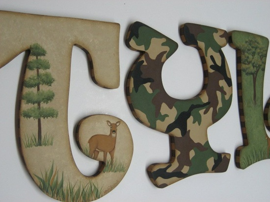 Camo Baby Nursery Handpainted Wall letters Hunting Outdoor Theme with Buck and Doe. $14.98, via Etsy.