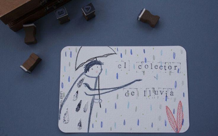 Illustrated postcard. Hand made item. El colector de lluvia www.lauratova.com