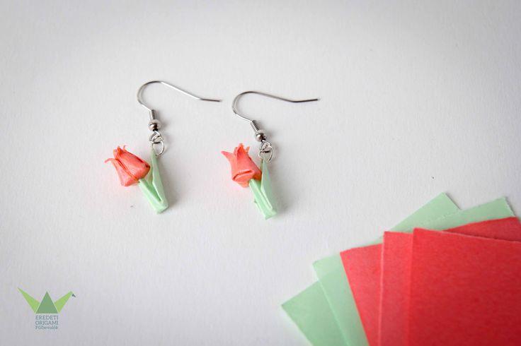 Origami tulip earring