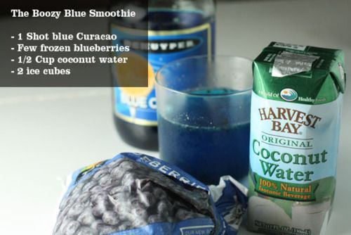 Get fit baby!Blue Curacao, Frozen Blueberries, Blue Smoothie, Ice Cubes, Workout Fitness, Simple Smoothie, Get Fit, Healthy Recipe, Coconut Water