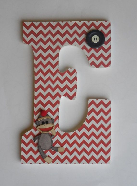 Wooden Letter - Sock Monkey Room Decor - Red Chevron