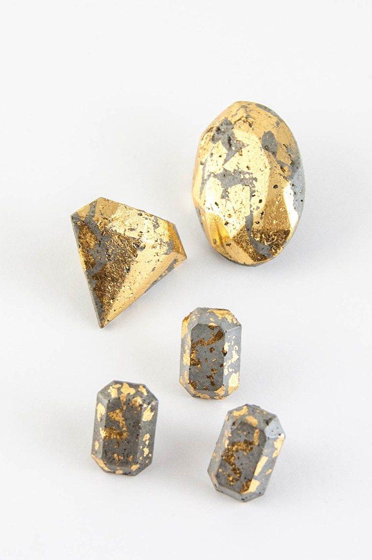 DIY concrete and gold leaf gems #diy