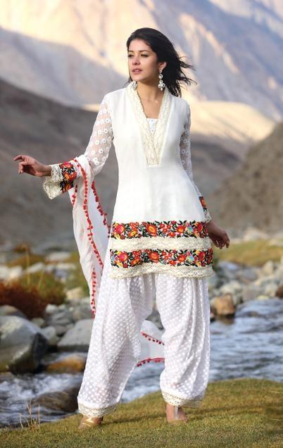 $123.17 Off White Full Sleeve Cotton,Faux Georgette Punjabi Salwar Kameez 12350