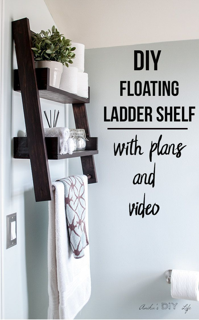 This is the shelf I have been waiting for!! This DIY floating ladder shelf is so genius! Easy woodworking project idea | Bathroom organization | #woodworking #shelves #woodworkingideas