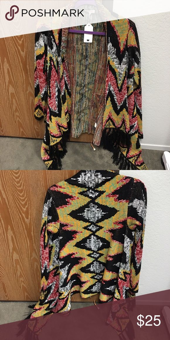 Fringe sweater size Large juniors Open front fringe bottom sweater size Large. Worn one time! Woven Heart Sweaters Cardigans