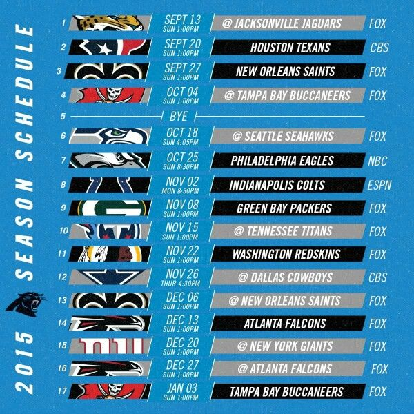 South Carolina Panthers 2915 football schedule