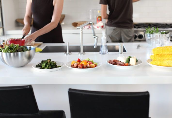 Though the rest of the kitchen is a bit too modern for my taste, I love how the white counter and white dishes make the food pop and look beautiful