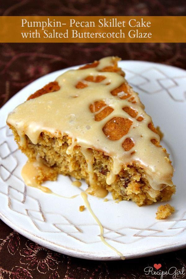 Pumpkin Pecan Skillet Cake with Salted Butterscotch Glaze - RecipeGirl.com @RecipeGirl {recipegirl.com} {recipegirl.com}