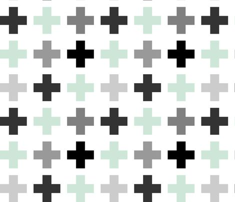 Mint Gray Plusses fabric by mrshervi on Spoonflower - custom fabric