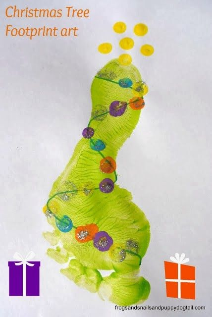 Footprint Christmas Tree Footprint Snowman Craft for Kids by FSPDT * Fun for all ages and perfect for last minute holiday craft with the kids