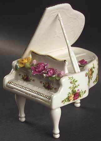 Musical Piano in the Old Country Roses pattern by Royal Albert China