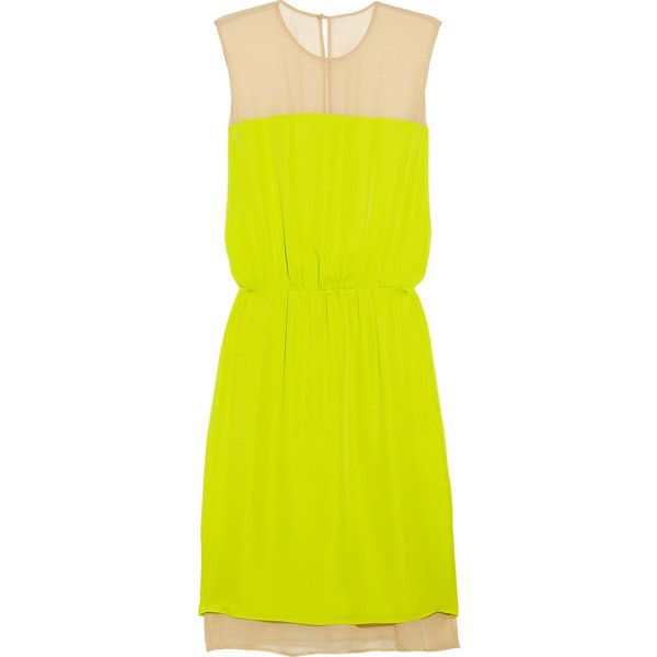 Mason by Michelle Mason Washed silk-georgette and chiffon dress ($245) ❤ liked on Polyvore featuring dresses, vestidos, платья, short dresses, lime green, short yellow dress, neon yellow dress, yellow cocktail dress, yellow chiffon dress and lime green dress