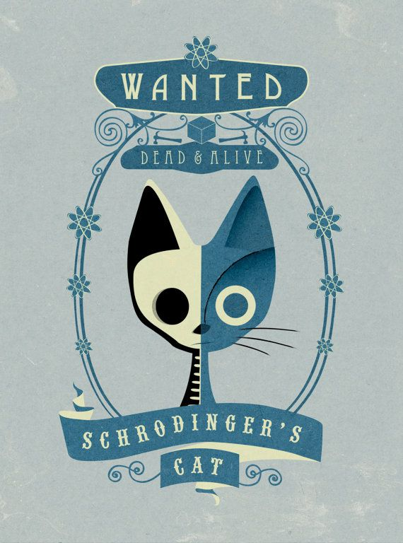 Schrodinger's Cat Wanted Poster Art Print by TheFineLineEmporium