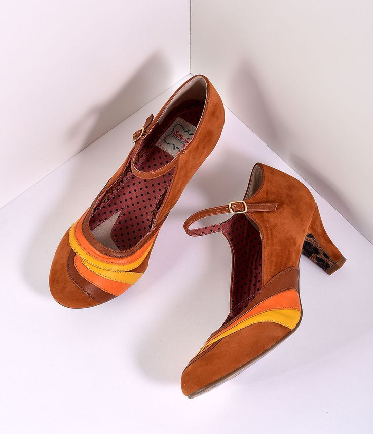 Downton Abbey Shoes- 5 Styles You Can Wear Bettie Page Brown Suede Tri Color Yule Heels Shoes $69.00 AT vintagedancer.com