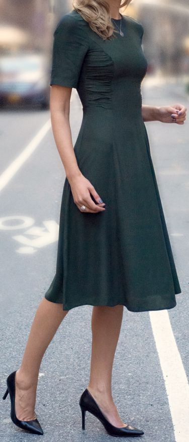The Classy Cubicle: forest green midi dress with ruched side panels