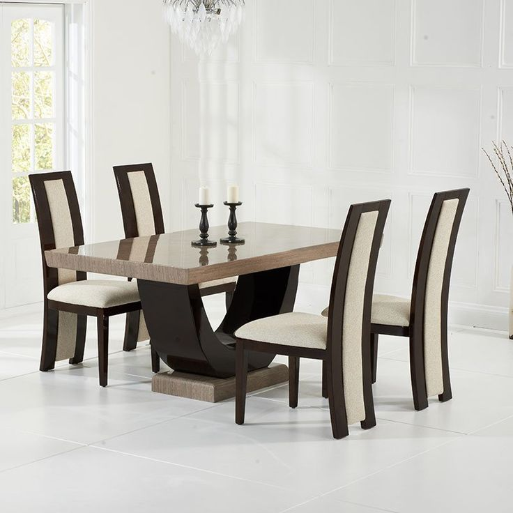 Rivilino Brown Constituted Marble Dining Table Set (6 Rivilino Chairs) Photo
