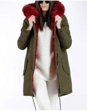 ΓΥΝΑΙΚΕΙΑ ΡΟΥΧΑ :: Μπουφάν & Παλτά :: Παρκά Fluffy Colour Faux Fair Hood Red - OEM