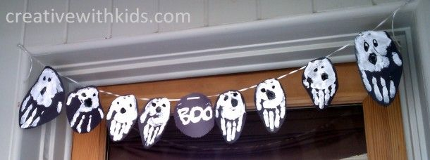 Boo! Handprint Ghosts Halloween Banner