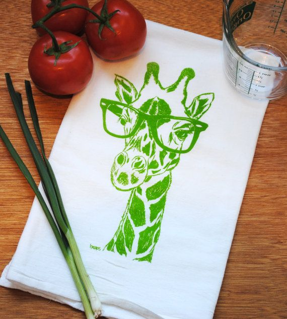 Awesome Giraffe Wearing Raybans   Kitchen Towel Made Of Organic Cotton Flour Sack  Fabric. Silk Screened Design Inspirations