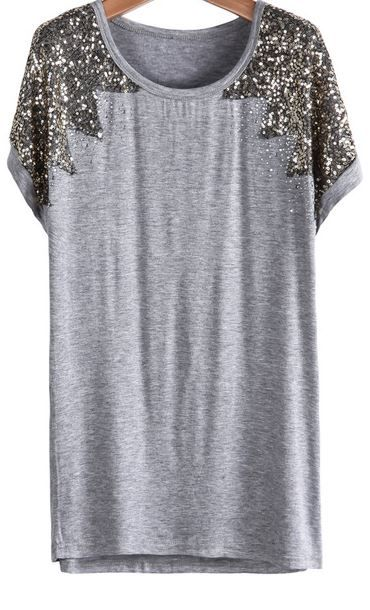 Sequined Loose Grey T-Shirt at Romwe