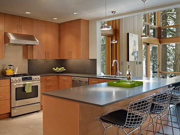 Sophisticated, Clean, Stylish, good look for combining birch-toned cabinets with stainless...
