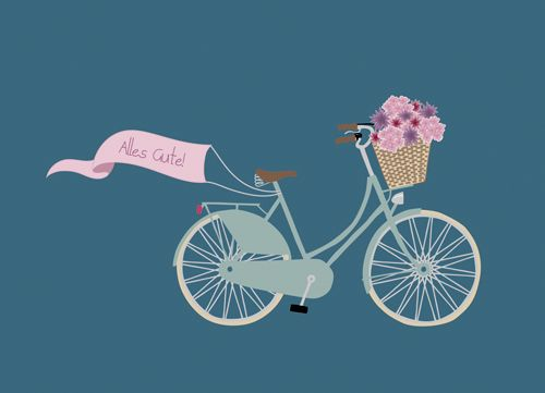 postcard 'congratulations' by faltmanufaktur #bike #flowers #basket
