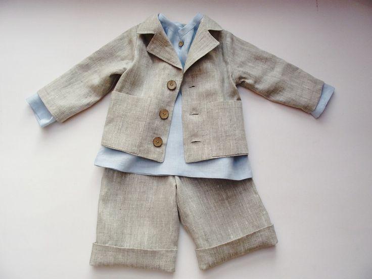 Jacken - Natürlich Lein Jacke und Shorts set. Grau.62/122. - ein Designerstück von adatine bei DaWanda