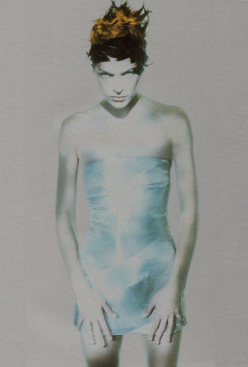 Milla Jovovich by Paolo Roversi for Vogue Italia, March 1998. In Alexander McQueen, 1998