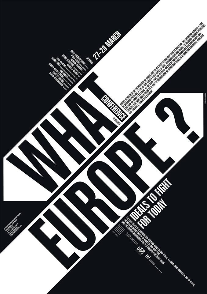 """Poster for the Conference 2014: """"What Europe? Ideals to Fight for Today"""" (copyright: ICI Berlin, Institute for Cultural Inquiry)"""