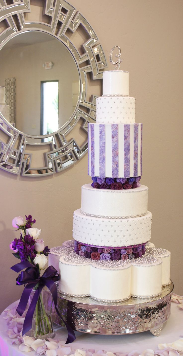 Tall Wedding Cake Purple and Silver by Heavenly Cake pops Easy Roller 3