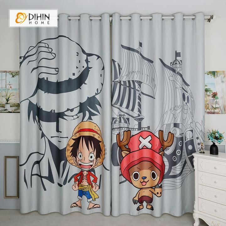 Dihin Home 3d Printed One Piece Luffy Blackout Curtains Window