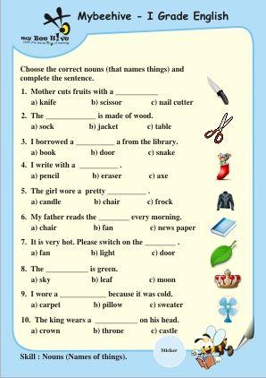 Grade One English Worksheets 3 Tv Anntana Pinterest