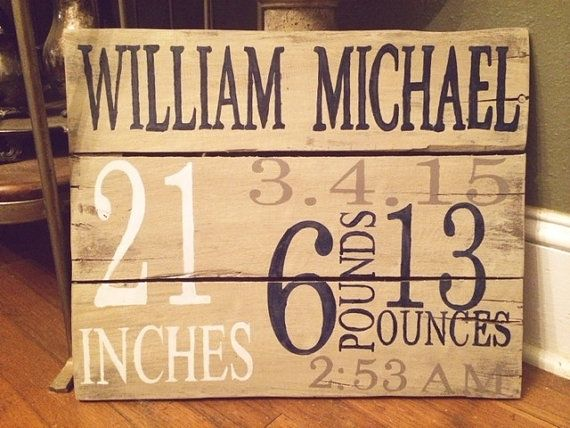 This is a handmade handpainted wood birth announcement sign. It is personalized with your special little ones important dates and information!!