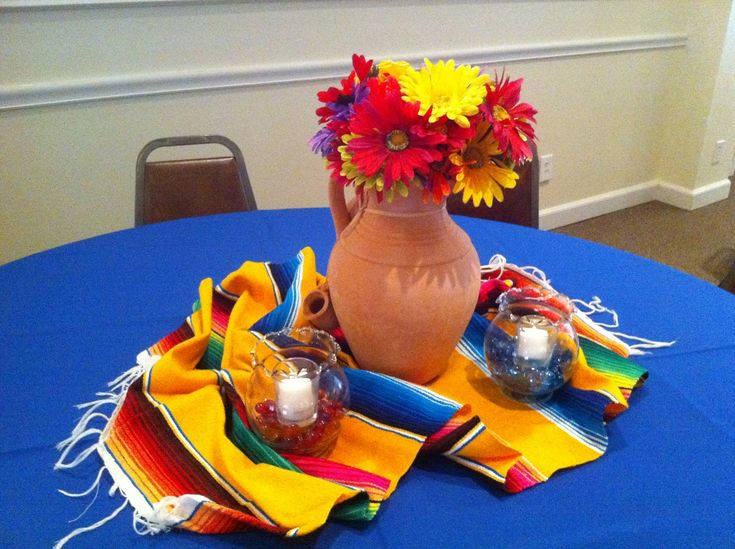 Mexican Fiesta Floral Centerpieces | Mexican Party Table Decorations