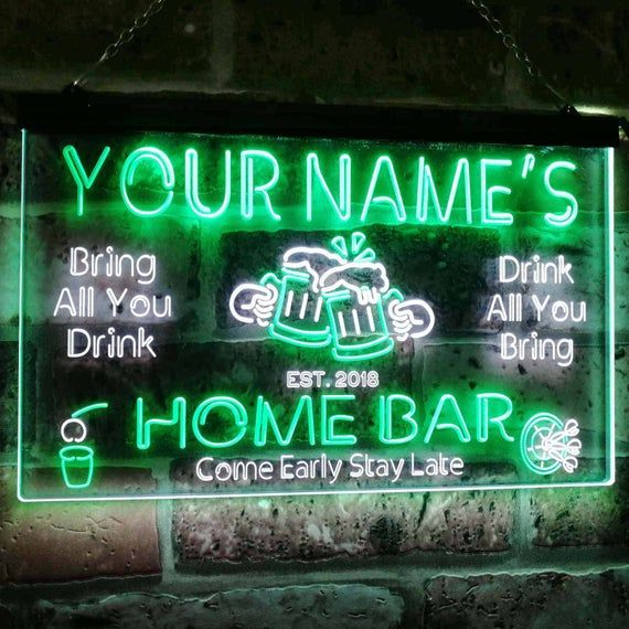 Personalized Your Name Custom Home Bar Neon Signs Beer