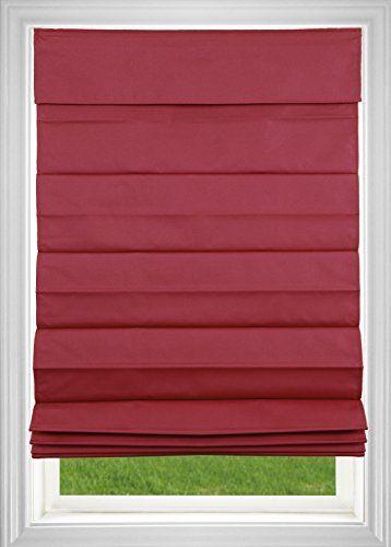"DEZ Furnishings Cordless Roman Shade, 52 x 64"", Red"