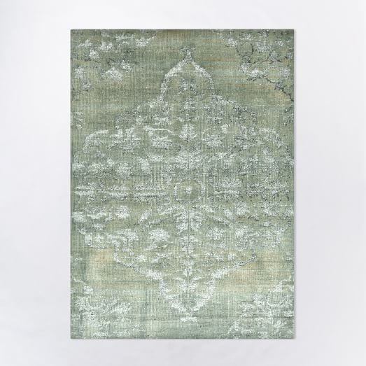 Faded Bloom Rug Aqua West Elm Inspiration Client