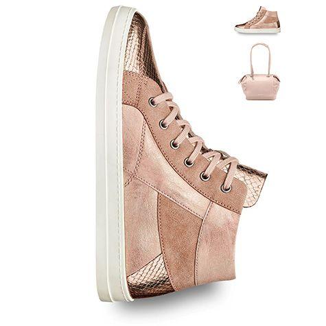 sneaker high top gold rosegold metallic trend shoes 2016 tamaris 2016 spring. Black Bedroom Furniture Sets. Home Design Ideas