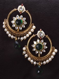 Emerald and Pearl Chand Bali