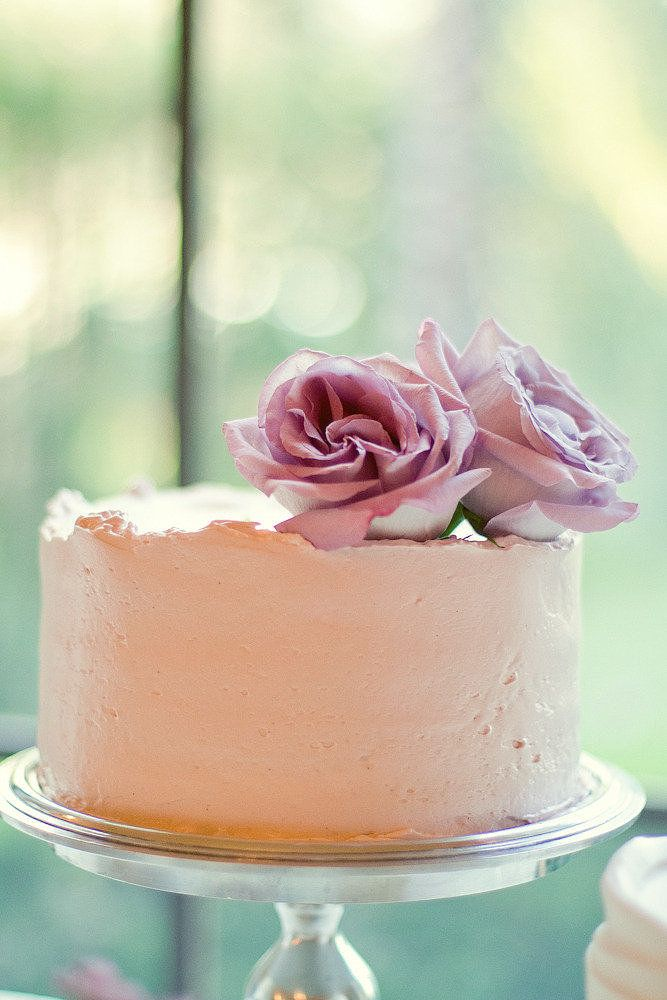 One-Tier Blush Cake Topped with Lavender Roses —perfect for smaller gatherings, or for a cake to cut + a dessert table